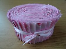 JELLY ROLL STRIPS 100% COTTON PATCHWORK FABRIC PINK 40 PIECES