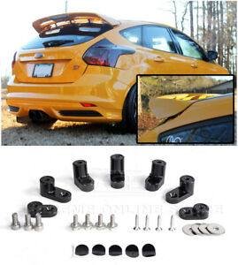 For 13-18 Ford Focus ST ANODIZED BLACK JDM Rear Wing Spoiler Riser Extender Kit