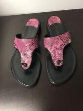 Cole Haan Black/pink Leather Snakeskin Flip Flop Sandals Thongs Size 6B
