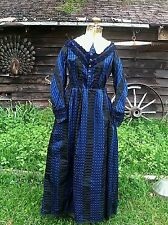 Vintage 1800's 1850's FANTASTIC Victorian Sapphire Blue Day Gown/Dress 34-26-62