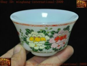 China Chinese dynasty glass glaze Painted flower bird statue Tea cup Bowl Bowls