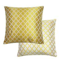 2 x Filled Herringbone Honeycombe Woven Jacquard Gold Ochre Cushions 18""