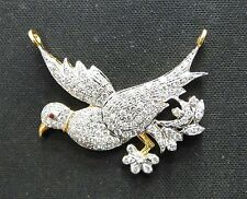 14k Solid Gold jewelry Ruby Diamond Gemstone Bird Pendant Necklace Amulet India