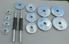 Barbell Adjustable Dumbbells: Handles, Screw Collars & Plates, 30 lbs TOTAL