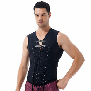 Men Gothic Punk Tank Top Lace-up Front Sleeveless T-shirt Nightclub Rave Party