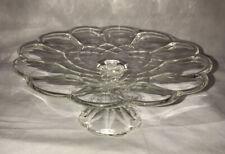 "Vintage 11.5"" Round Gyroscope Scalloped Patterned Crystal Pedestal Cake Plate"