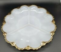 "Vintage 10"" White Milk Glass w/ Gold Trim Divided Relish Dish Serving Platter"