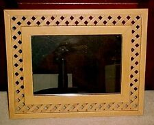 Vintage Wooden Lattice Weave Framed Wall Mirror 17 by 21 Inches