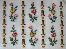 Vintage Pastel Floral Presewn Preworked Design Needlepoint Canvas