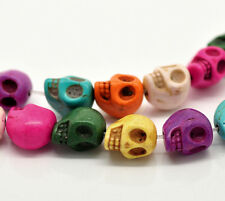 10 X 13mm Mixto Color Turquesa Calavera cuentas Craft Molduras (Howlite) V53