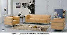 3 PC Modern Le Corbusier leather Sofa + 2 chairs set #3002