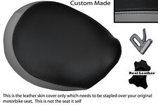 BLACK & GREY CUSTOM FITS TRIUMPH THUNDERBIRD 1600 1700 FRONT LEATHER SEAT COVER