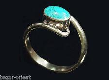 Traditioneller Tibetischer Türkis Ring tibetan turquoise ring neusilber  Nr.9