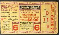 1948 World Series Game 6 Ticket Braves Field Boston vs Cleveland Indians MLB