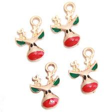100Pcs Wholesale Gold Plated Enamel Charms Christmas Deer Head Alloy Pendant L