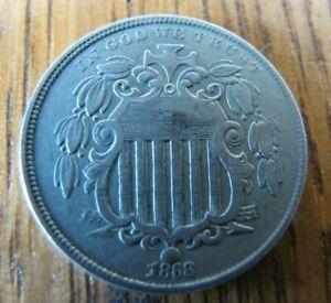 1868 Shield Nickel TYPE 5 CENT PIECE very nice detail