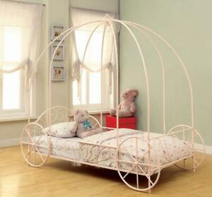 Massi Twin Princess Carriage Canopy YouthBed Powder Pink 400155T