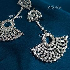 18K WHITE GOLD FILLED SIMULATED DIAMOND WEDDING PARTY DROP LUXURY EARRINGS
