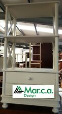 Library 11196 - 2 Shelf 2 Drawers Hip Cross Lacquer White, cm54x34x105H