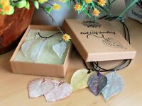 Unique Real Bravery Heart Leaf Necklace Jewellery Gift on Leather Chain