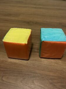 2 Clear Pocket Dice 4 1/2 Inch Cubes. Interchangeable For Math Or Reading