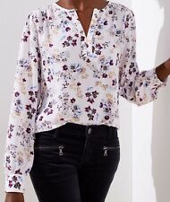 Ann Taylor LOFT Garden Keyhole Blouse Top Size Small Creole Pink Color NWT