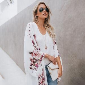 Women Boho Chiffon Floral Kimono Cardigan Duster Beach Cover Up Summer Outerwear