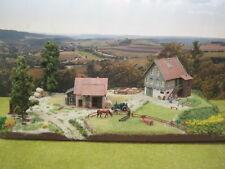Diorama Bauernhof mit LED Beleuchtung Modellbau H0 1:87