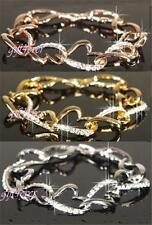 Yellow Gold Plated Crystal Chain/Link Costume Bracelets