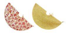 Christmas Tree Skirt Gold Red Glitter Poinsettia Flowers 90cm Diameter PL165287