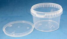 25 x 560ml Clear Plastic Tamper Proof Tubs/Containers with Lids