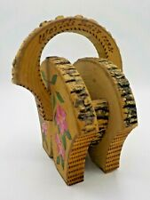 Vtg 1934 Chicago Worlds Fair Wood Carved Painted Souvenir Pyrography Basket