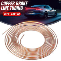 Copper Brake Pipe Hose 25ft 3/16 OD Line Roll Tube Piping Joint Union Stainless