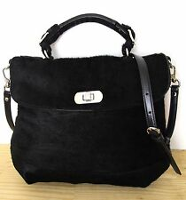 AUTH MARNI ITALY BLACK HAIR ON HIDE LEATHER MESSEGER SHOULDER BAG HANDBAG PURSE