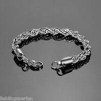 1 Edelstahl Armband Armbänder Karabinerverschluss Verdrehte Kette 20cmx7mm L/P