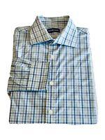 EUC MICHAEL KORS Men's Dress Shirt Size 15.5 32/33 Medium White Blue Green Plaid
