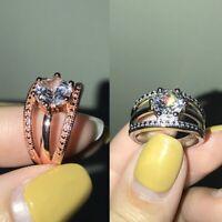 Legierung Einfach Zirkonia Hochzeit Schmuck Größe 6-10 Damen Finger Ring cRUWK