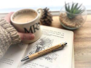 Teachers Christmas Gift Personalised Wood Pen Present Engraved Xmas Holidays
