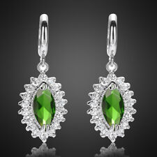 Cubic Zirconia 18K White Gold Plated Marquise Cut Green Emerald Dangle Earrings