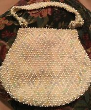 Corde-Bead Lumured WhitePink Beaded Floral Evening Purse Handbag w/coin mirror