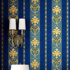Royal Blue Gold Damask Stripe Waterproof Wallpaper Embossed Textured PVC Roll