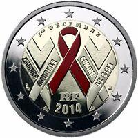 Frankreich 2 Euro Welt Aids Tag SIDA 2014 Polierte Platte Gedenkmünze in Farbe