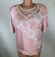 Vintage Royal Feelings Womens Top Beaded Sequin Silk Pink Shimmer Size L NEW
