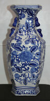 "Hand Painted 6-Sided 14"" Tall Vase ~ COBALT Blue & White Design ~ Chinoiserie"