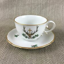 Antique Teacup & Saucer Royal Vienna Beehive Hand Painted Duo St Hubertus