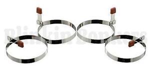 4 FRIED EGG RINGS ROUND METAL FRYING PAN PANCAKE COOKING MOULD FOLDING HANDLE