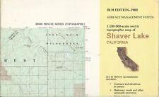 USGS BLM Flat Topographic Map SHAVER LAKE California 1980 -100K- Mariposa SW/4