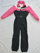 Nils Vintage Women's Ski Suit One Piece Snowsuit Size 8 Pink Black White Hooded