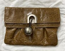Authentic Chloé Beige Leather Patent Clutch Bag