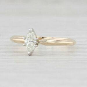 0.24ctw Diamond Solitaire Ring 14k Gold Size 6.25 Marquise Brilliant